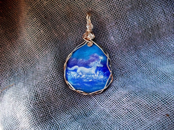 Unicorn in the Sea: Hand Painted Miniature Art Pendant